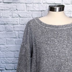 EILEEN FISHER Gray White Crop Sweater Size S